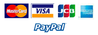 We accept the following payment options: Mastercard, Visa, JCB, American Express and PayPal